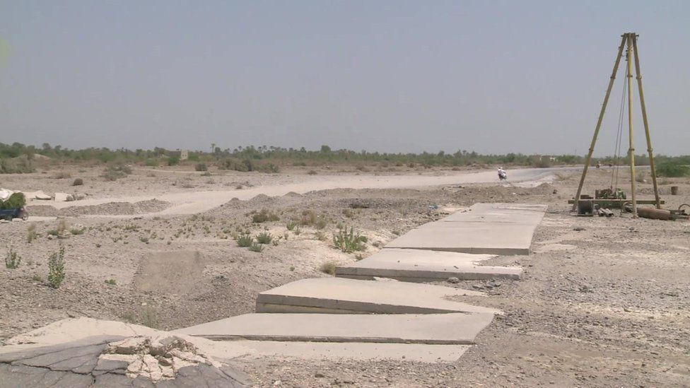 The construction site at Turbat - where work on a bridge was abandoned after 20 labourers were shot dead