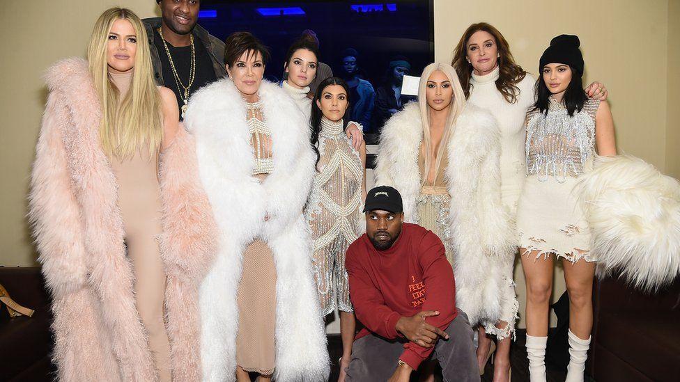 From left to right: Khloe, Lamar Odom, Kris Jenner, Kendall, Kourtney, Kanye, Kim, Caitlin and Kylie at Kanye West Yeezy Season 3 on 11 February 2016