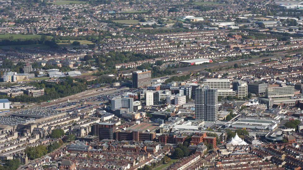 An aerial view of Swindon