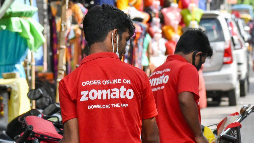 Zomato food delivery workers in Kolkata , India.