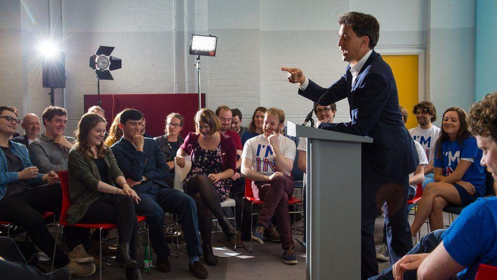 Ed Miliband speaking at a podium