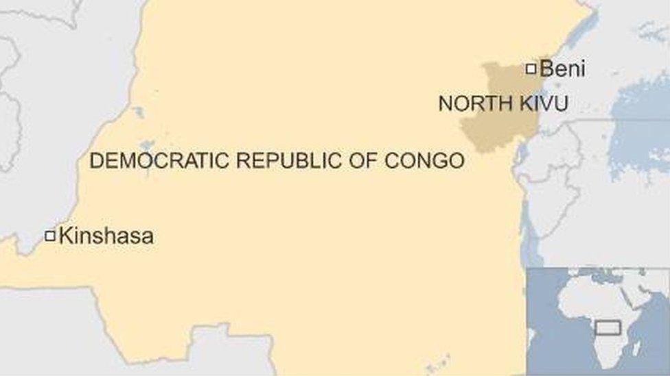 Map of DR Congo showing North Kivu, Beni