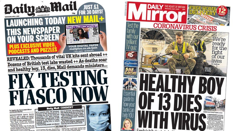 Daily Mail and Daily Mirror front pages