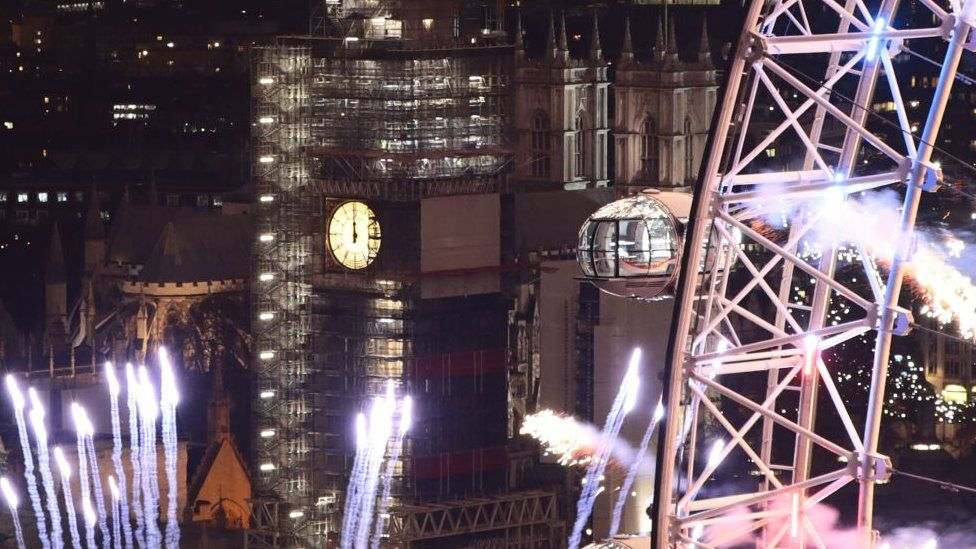 Big Ben and new year's fireworks