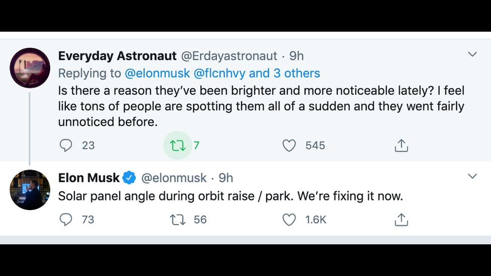 Twitter question to Elon Musk on the brightness of Starlink satellites