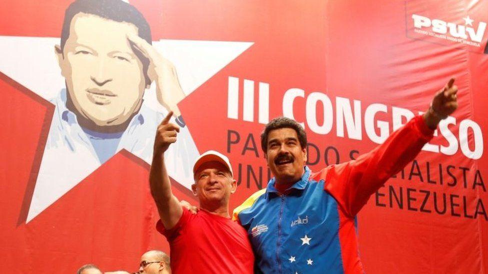 Venezuela's President Nicolas Maduro (R) embraces retired General Hugo Carvajal as they attend the Socialist party congress in Caracas, Venezuela July 27, 2014.