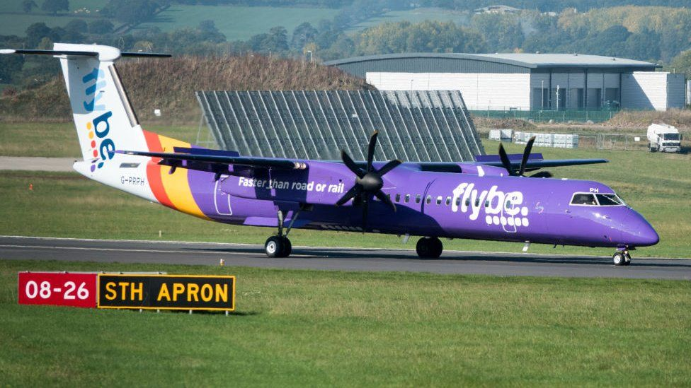 A Flybe plane on the runway