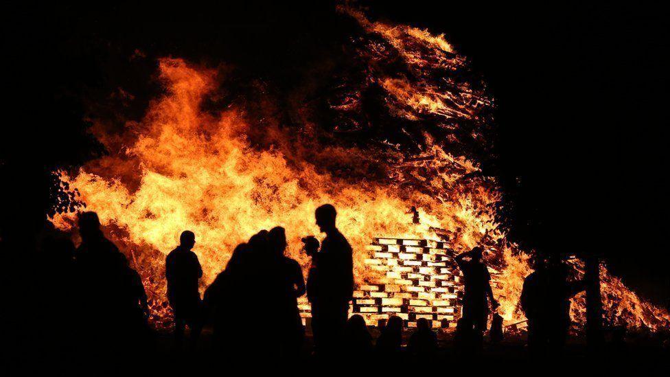 Bonfire in Highfield estate