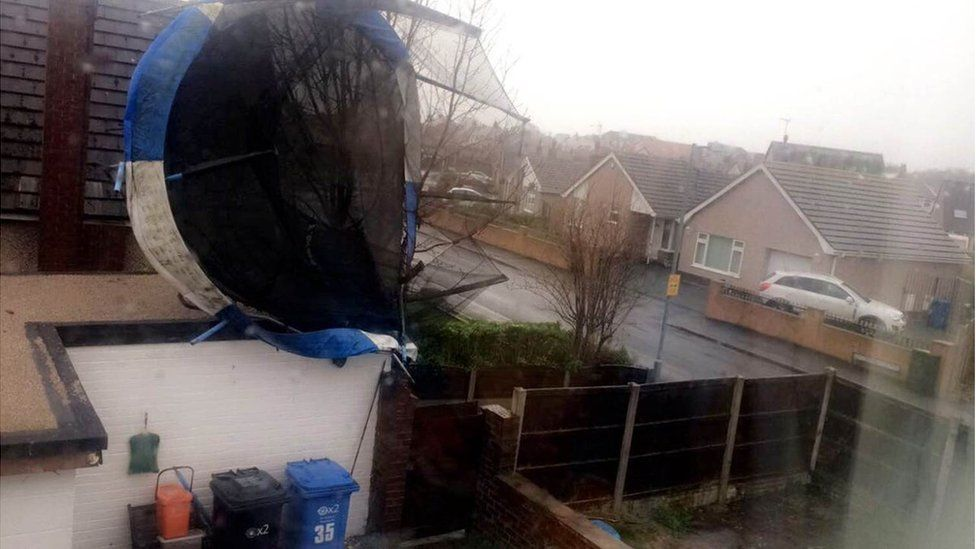 Trampoline lifted into the air at Rhuddlan, Denbighshire
