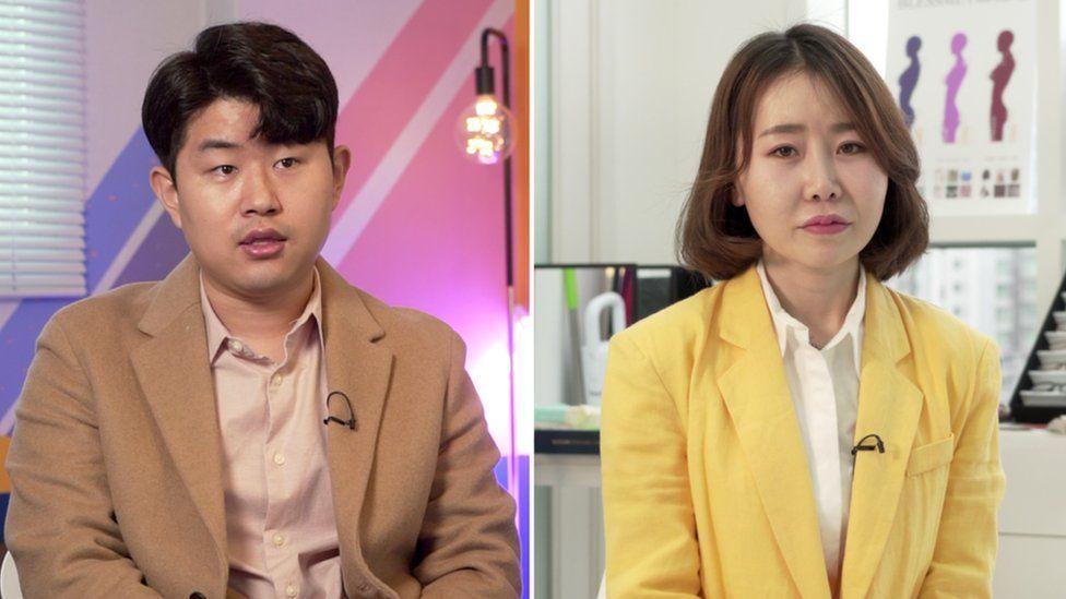 Kim Geum-hyok (L) and Yoon Mi-so (R)