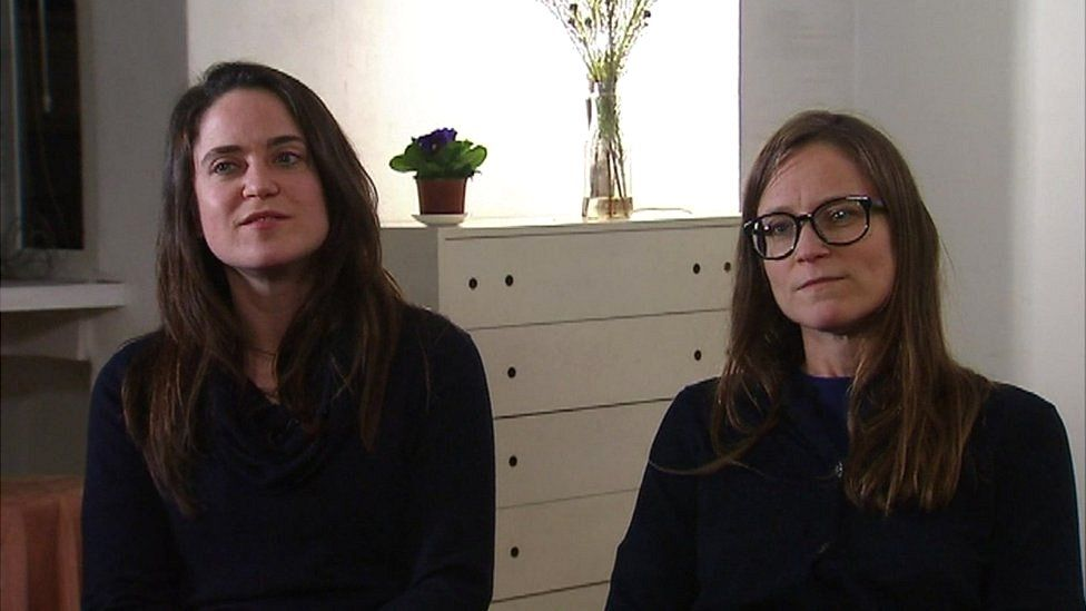 Tine Nys's sisters Sophie (R) and Lotte