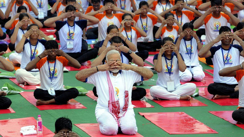 The first main national event to commemorate Yoga Day was held at Rajpath in New Delhi in 2015.