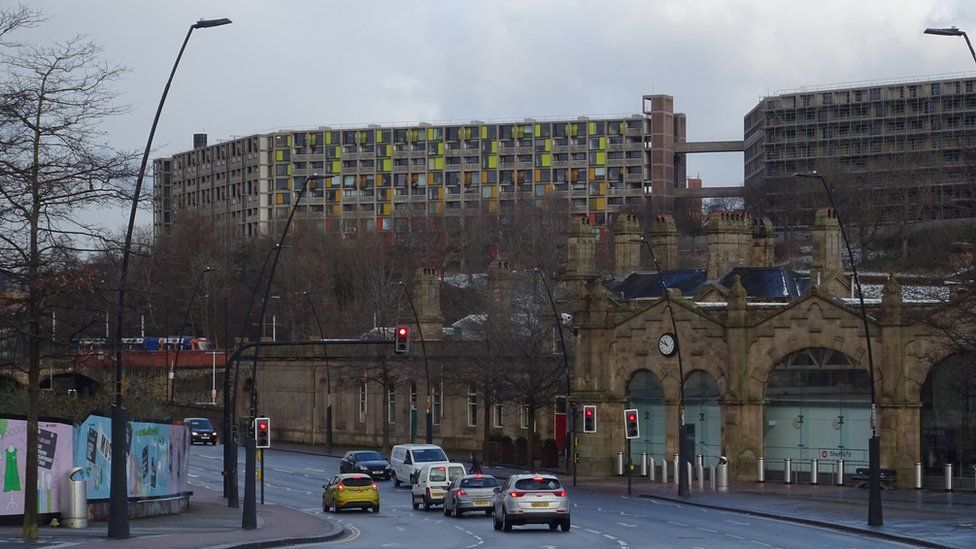 Sheffield city centre with Park Hill flats in the background