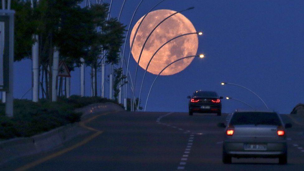 The Strawberry Moon in Ankara, Turkey