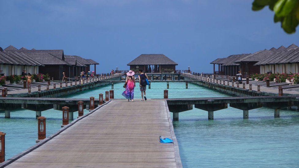 A tourist resort in the Maldives