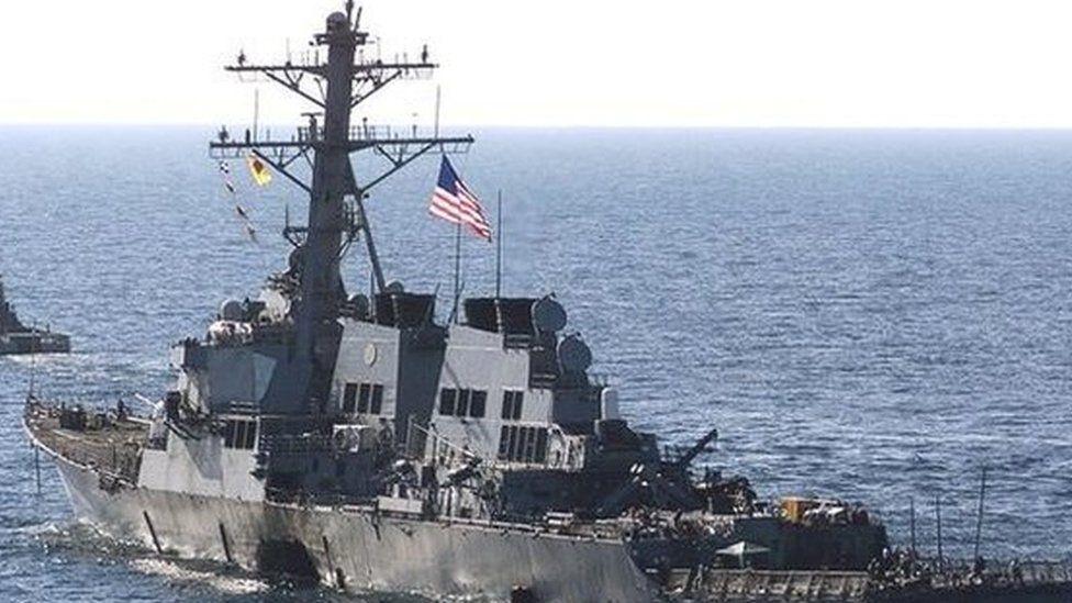 The damaged USS Cole