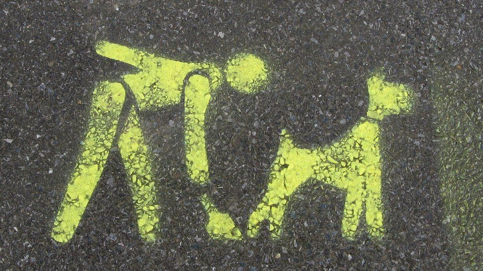 A stencil on the pavement asking you to clean up after your dog