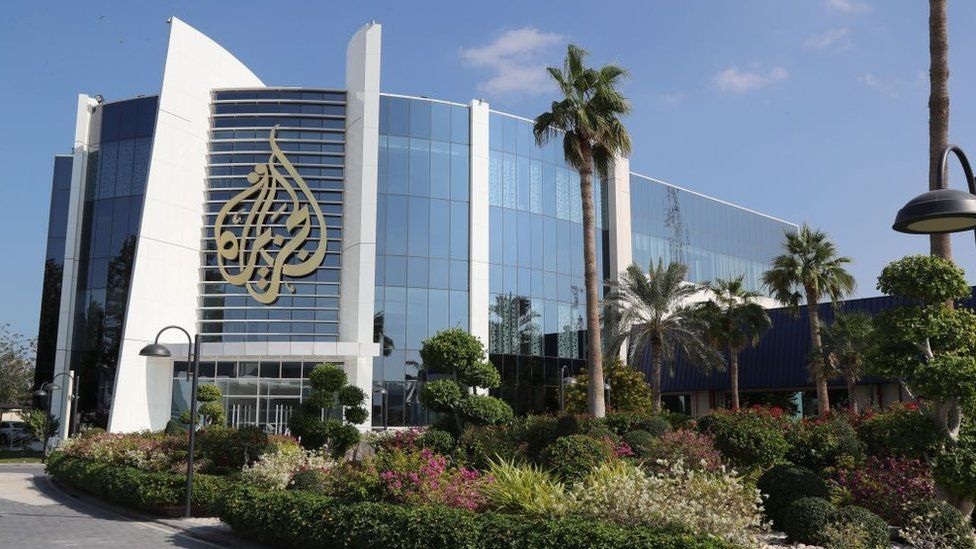 A picture taken on 5 December 2019 shows a general view of the headquarters of the Al Jazeera Media Network, in Doha, Qatar