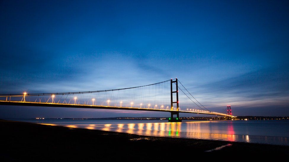 The Humber Bridge at twilight