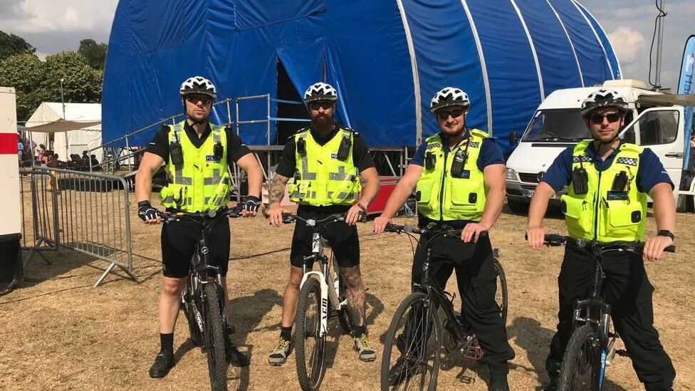 Officers, including Insp Ayling (second from left), at Bedford River Festival