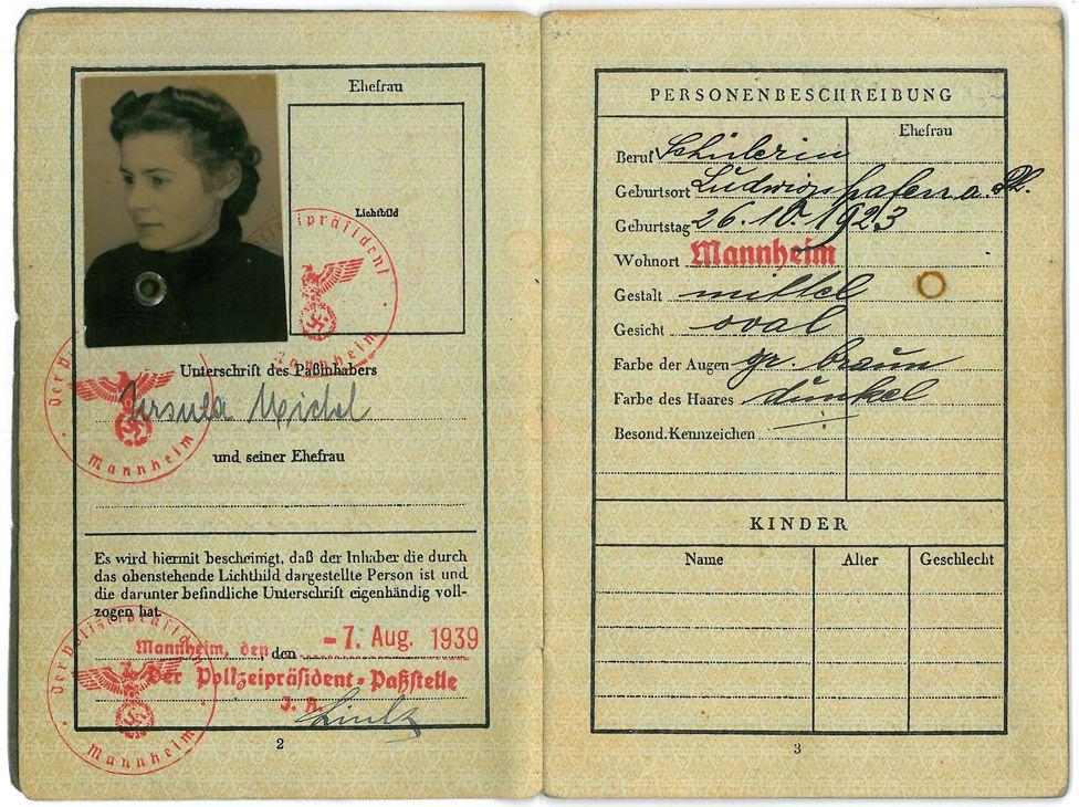 Ursula Michel's kindertransport passport