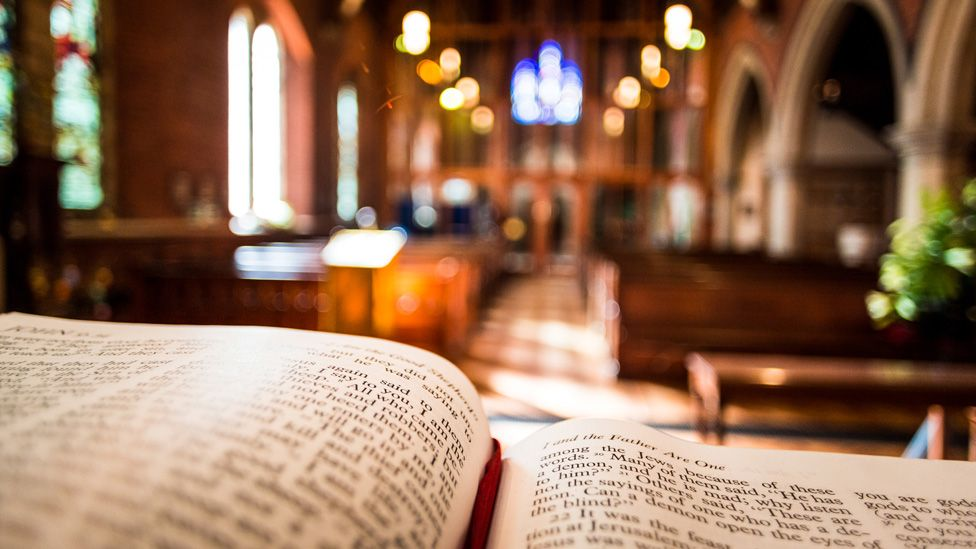open bible on altar in Anglican Church