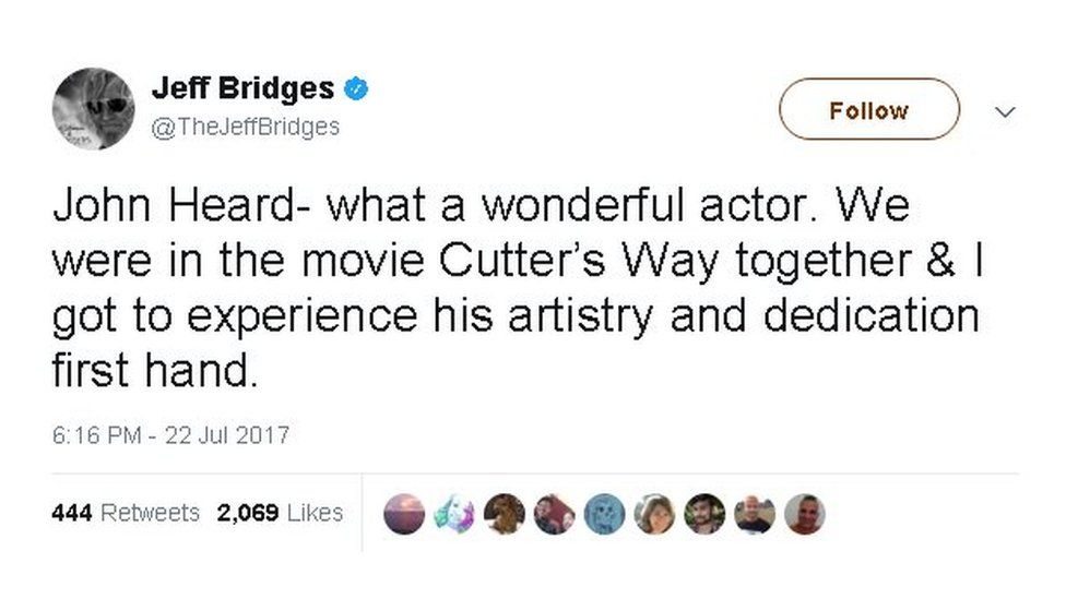 """Jeff Bridges tweet: """"John Heard - what a wonderful actor. We were in the movie Cutter's Way together and I got to experience his artistry and dedication first hand""""."""