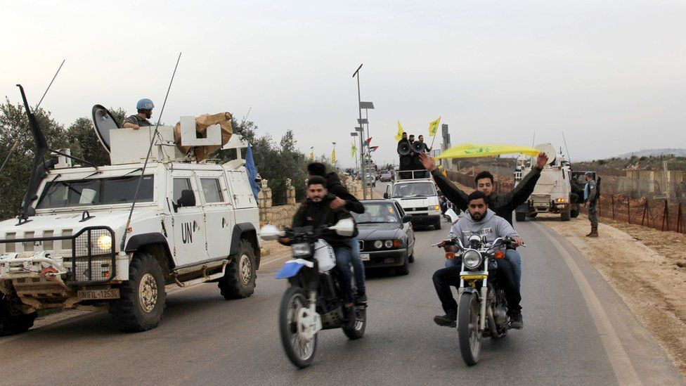 Hezbollah supporters rallied in the area of Fatima's Gate in Kfar Kila on the Lebanese border with Israel on 10 February 2018 to celebrate the crashing of the Israeli air jet