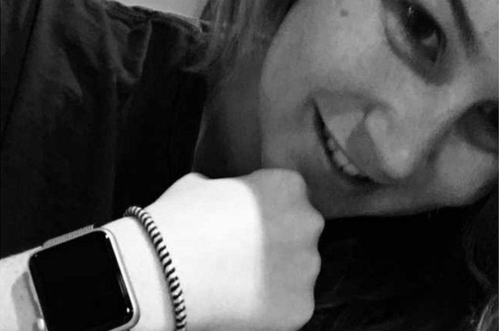 Molly Watt with her Apple watch