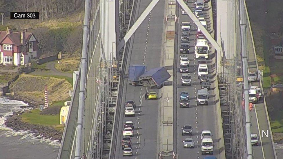Lorry overturned on Forth Road Bridge