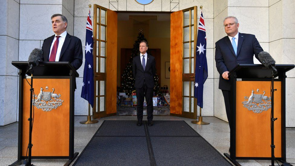Dr Brendan Murphy speaking at a coronavirus press conference with Prime Minister Scott Morrison and Health Minister Greg Hunt in Canberra in 2020