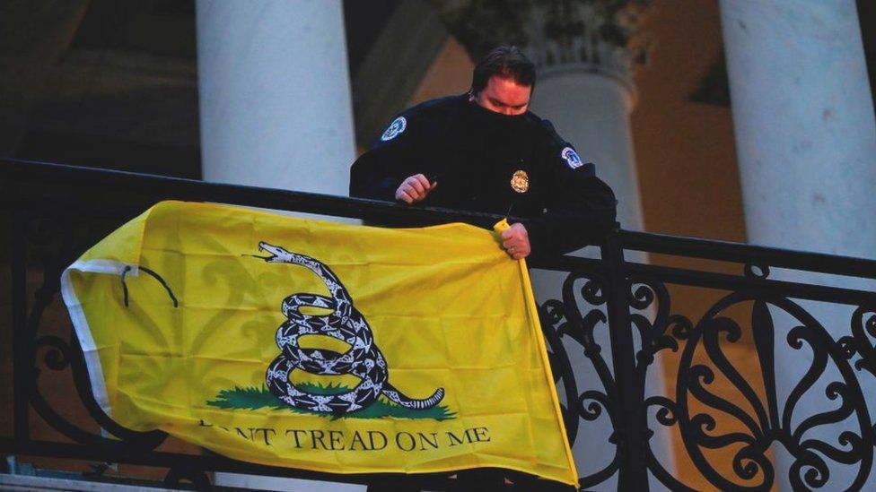 The Gadsden flag hung outside congress