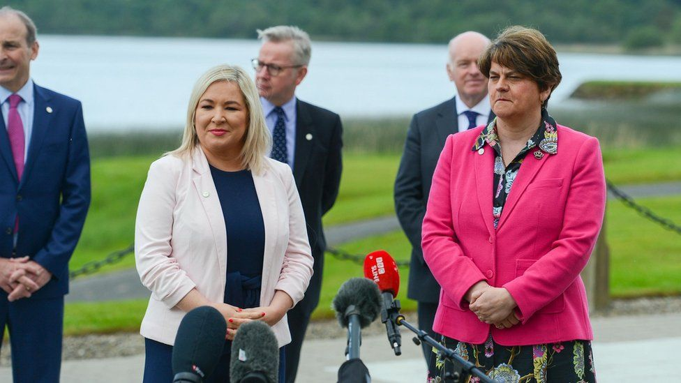 First Minister Arlene Foster and Deputy First Minister Michelle O'Neill welcome their counterparts to Fermanagh for the British Irish Council Summit