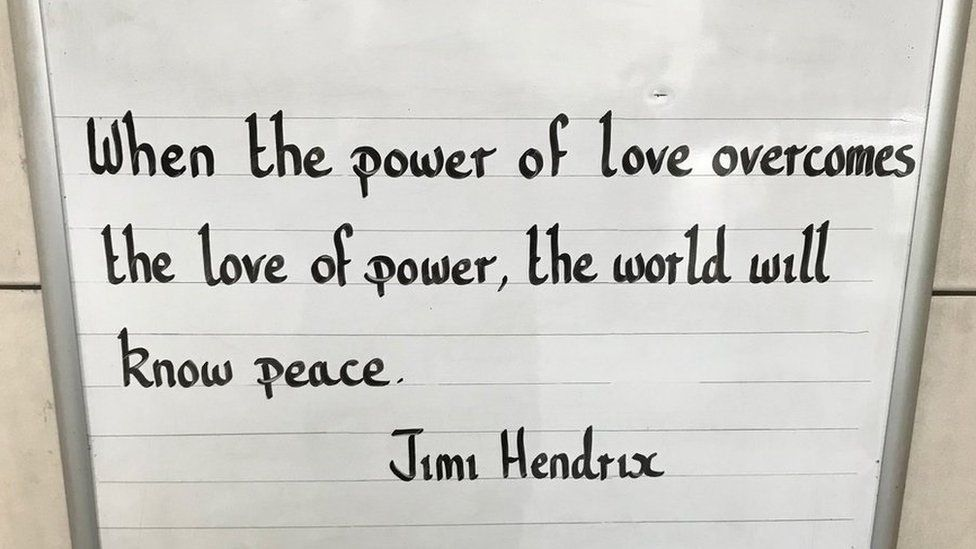 Inspiring message at the Oval station which says: When the power of love overcomes the love of power, the world will know peace.