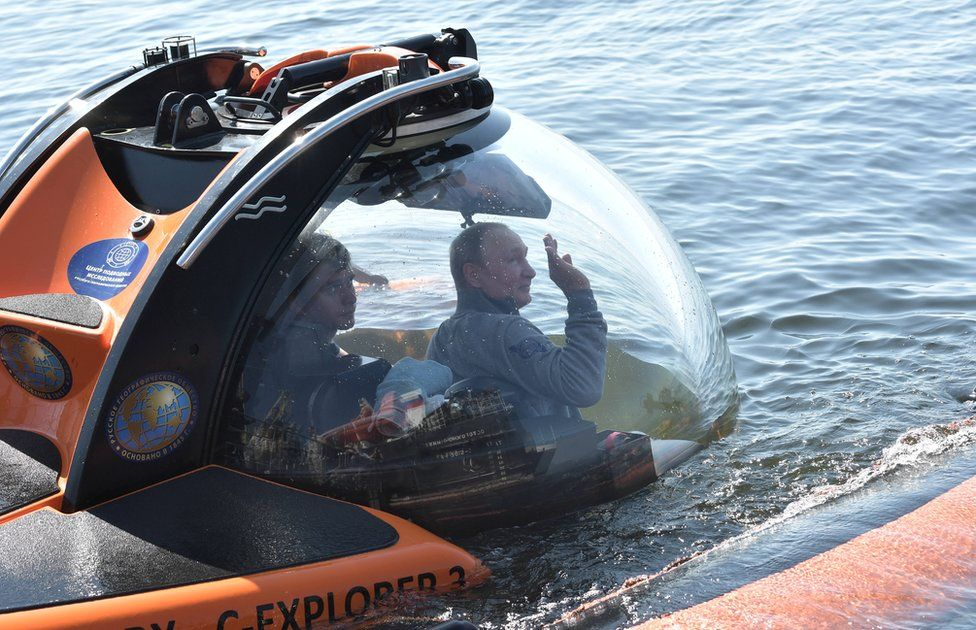 Russian President Vladimir Putin in a submersible in the Gulf of Finland, 27 July