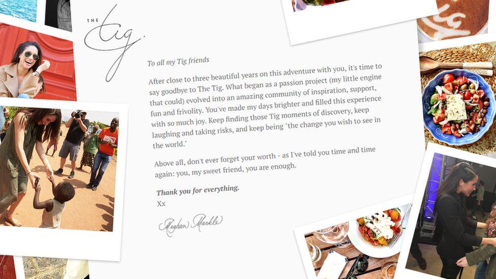 Goodbye letter on The Tig website
