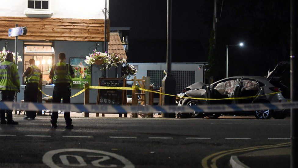 A car crashed into the side of the pub