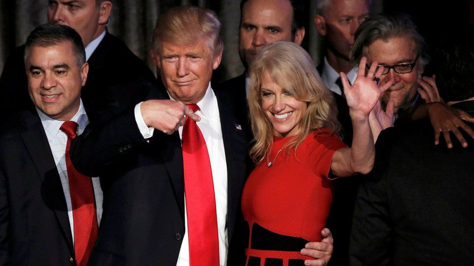 Donald Trump and his campaign manager Kellyanne Conway on election night rally in Manhattan, New York, on 9 November 2016