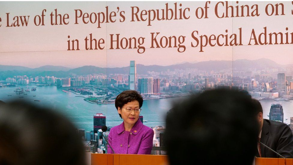 """Hong Kong""""s Chief Executive Carrie Lam takes part in a press conference at the government headquarters in Hong Kong on July 1, 2020"""