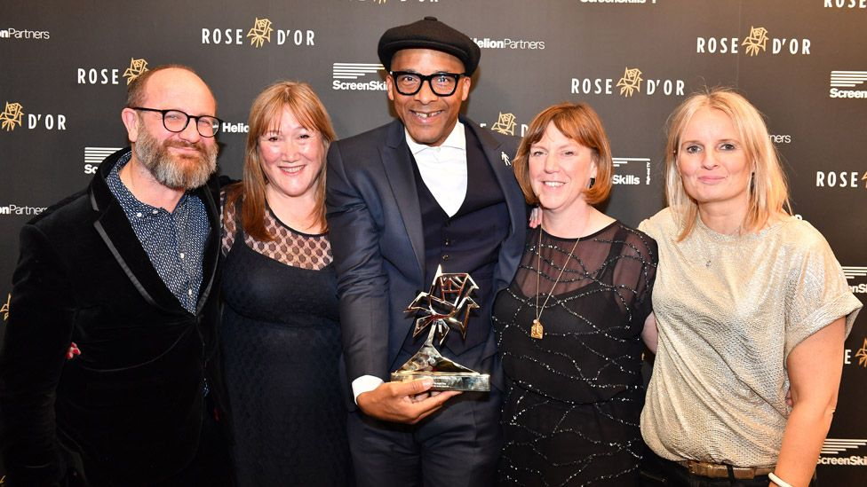 Blades picking up the Rose d'Or award for best reality and factual entertainment programme in December 2019