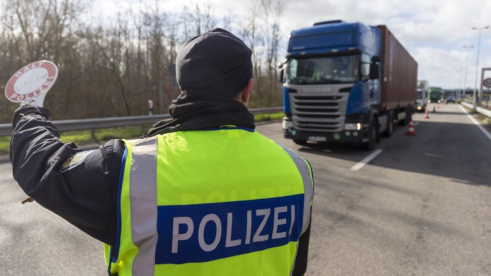 German Federal police officers check vehicles at the border to France due the Coronovirus Epidemic in Neulauterburg near Karlsruhe, Germany, 13 March 2020