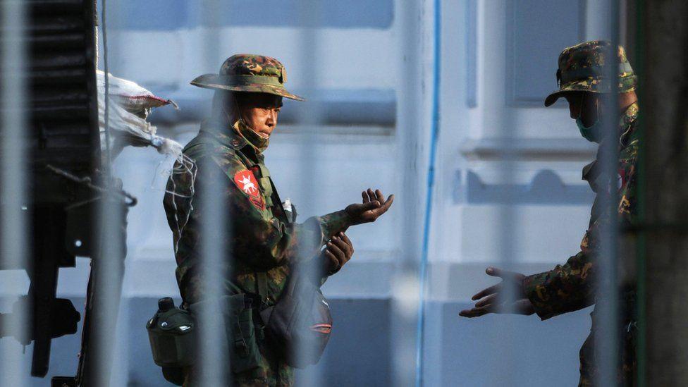 Myanmar soldiers are seen inside City Hall in Yangon, Myanmar February 1, 2021