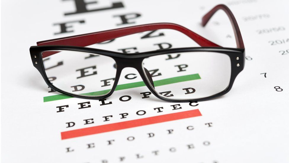 Glasses on an eye chart
