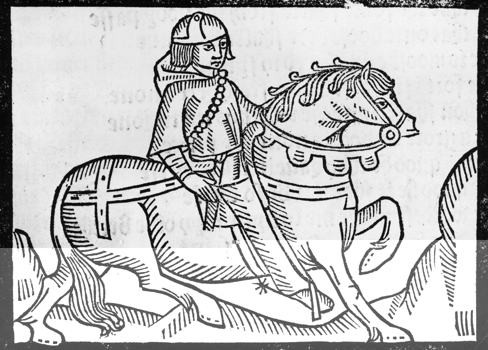 A woodcut of the Shipman from Chaucer's Shipman's Tale, from Richard Pynson's 1492 edition
