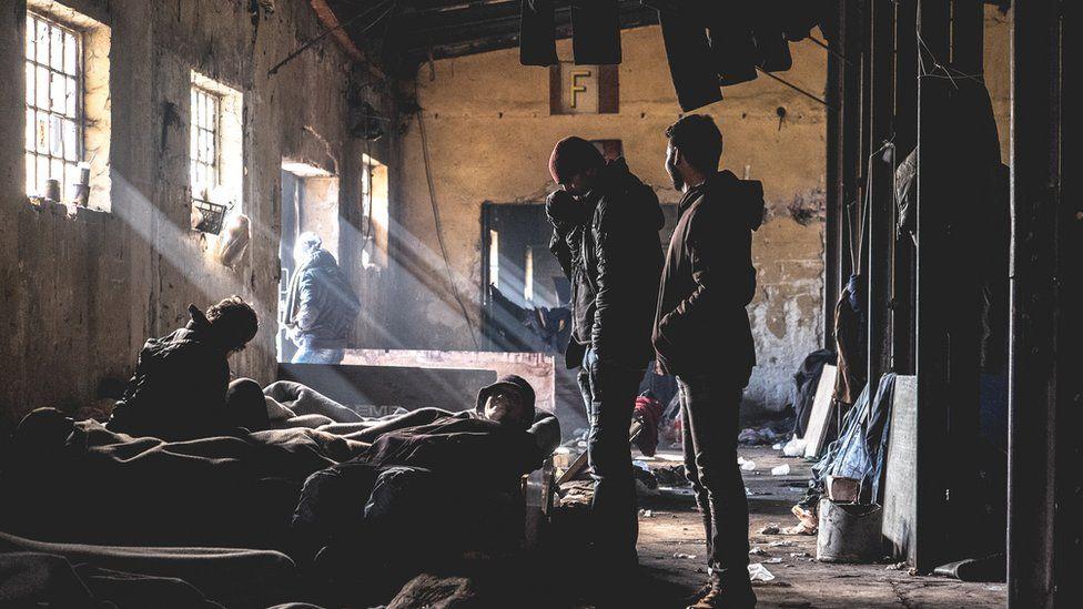 Refugees in a Belgrade squat