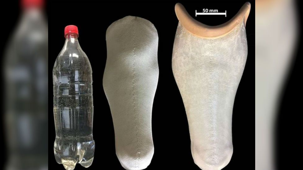 Prosthetic limb socket made from recycled plastic bottles