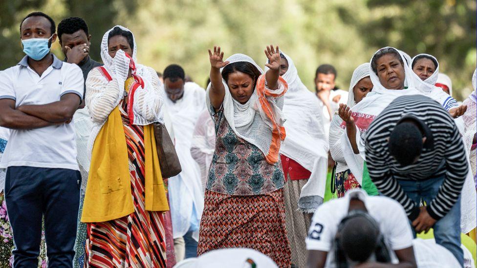 Orthodox Christians praying on the streets of Addis Ababa, Ethiopia - Sunday 5 April 2020