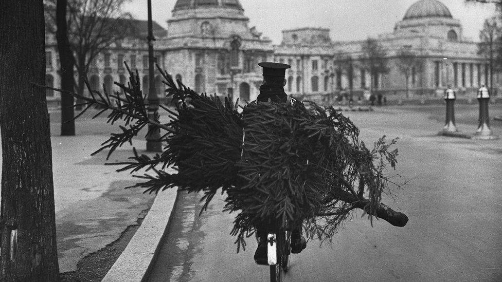 Postman with Christmas tree