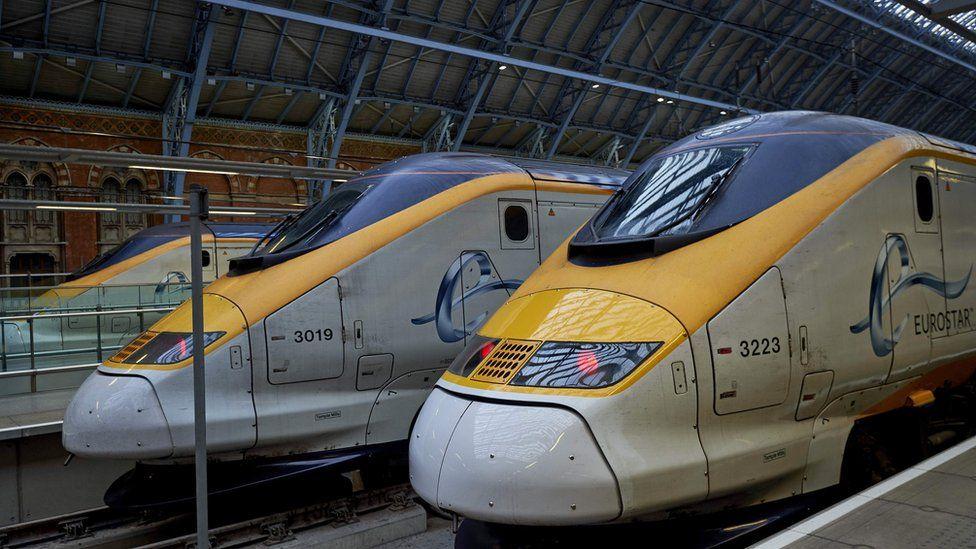 Eurostar trains at St Pancras station