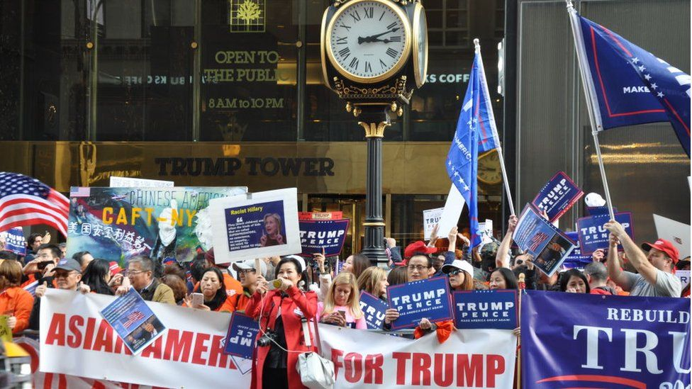 Asian and Chinese-American Trump supporters rally in Manhattan in 2016